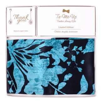 Gift Silk Scarf S Gentle Touch marine and Silver Earings Moments