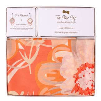 Gift Silk Scarf twill Coral Flower Kiss and Silver Earings Everyday Look