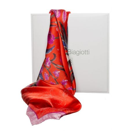 Gift: Flower Bouquet Squared L. Biagiotti Scarf and silk bow clip