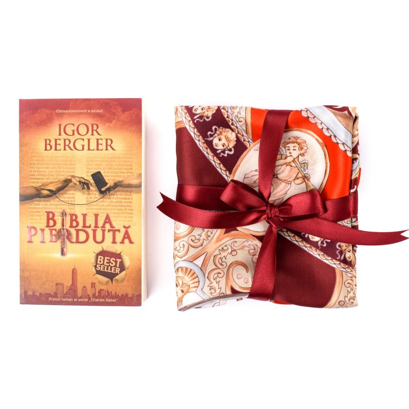 Set Esarfa matase naturala When In Rome red si bestseller Biblia Pierduta