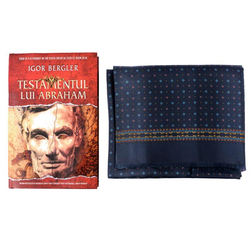 Gift Scarf Silk and wool Luton navy-bordo and bestseller Testamentul lui Abraham