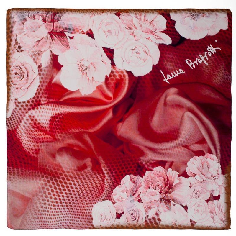 Eșarfă pătrată L. BIagiotti flori marsala