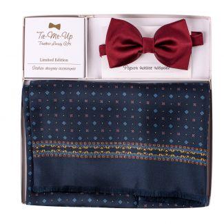 Gift Silk and wool scarfe Luton navy-bordo and Silk Bow Tie bordo
