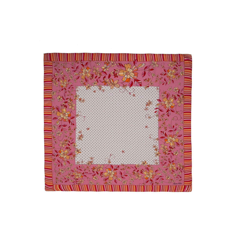 Eșarfă pătrată Marina D'Este roz cu bulinuțe
