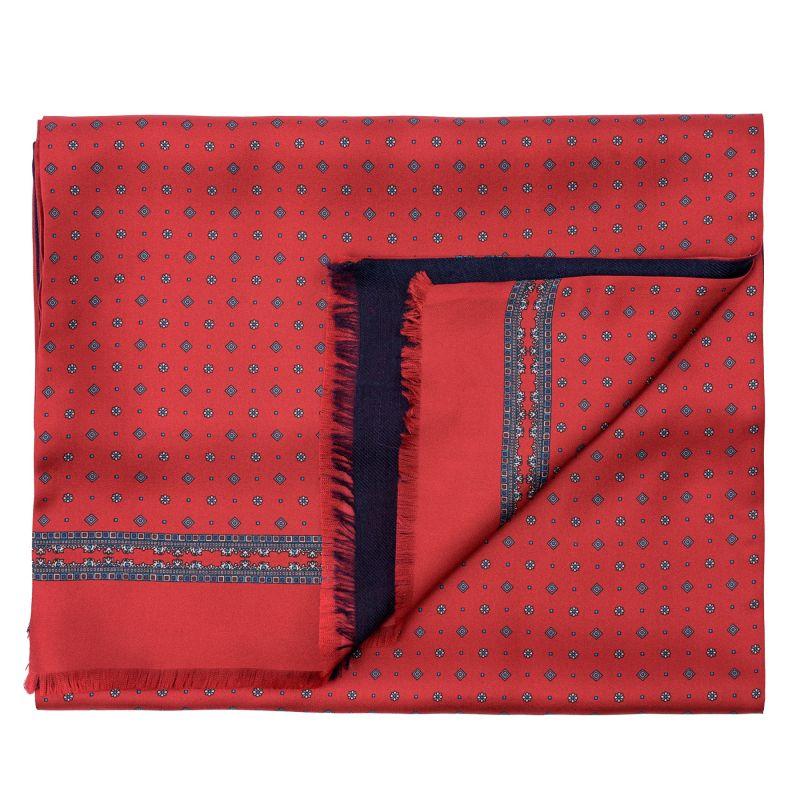 Men scarf silk and wool L. Biagiotti Luton rosu-navy
