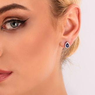 Sterling Silver Earrings Saphirre Drop