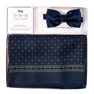 Gift: Silk and wool scarv Luton navy-green and Silk Bow Tie Navy