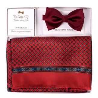 Gift Silk and wool scarv Anvers red-navy and Silk Bow Tie bordo