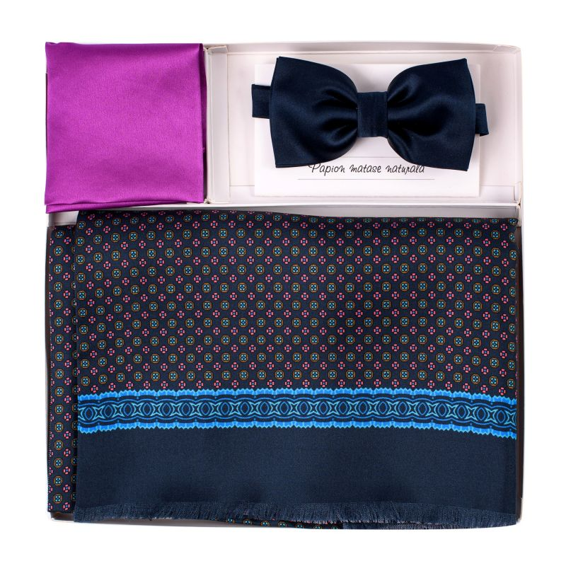 Gift Silk and wool Scarf Perugia navy-pink, Silk Bow Tie Navy and Silk Pocket Magenta