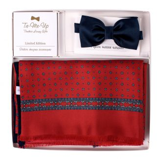 Gift Silk and wool scarf Luton red-navy Silk Bow Tie Navy