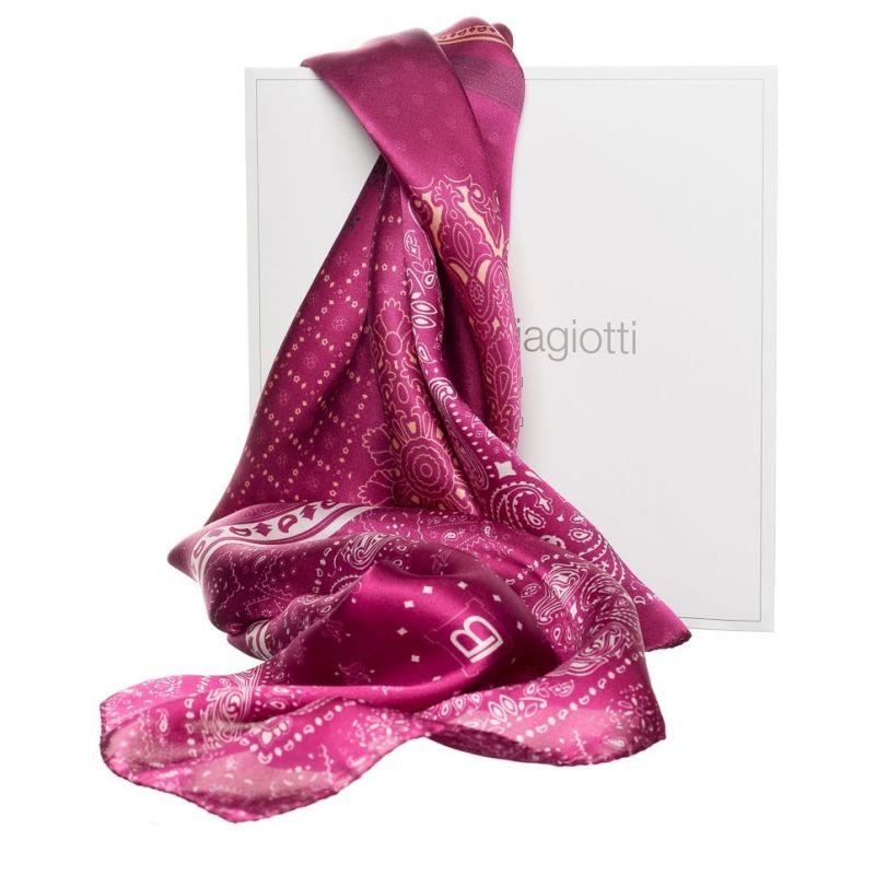 Cadou: Eşarfă pătrată L. Biagiotti grometric lila cu fundiţă