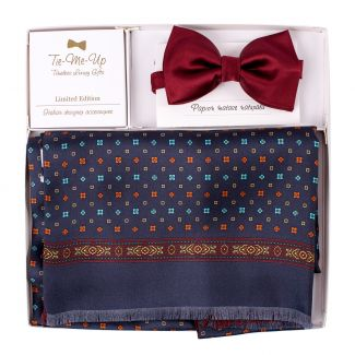 Gift Silk and wool scarf Perugia navy-orange and Silk Bow Tie bordo