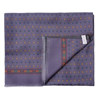 Men scarf silk and wool L. Biagiotti Anvers lila-mustard