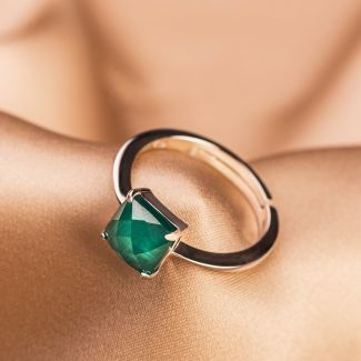 Sterling Silver Ring ajustable Scarlet Emerald Cat Eye