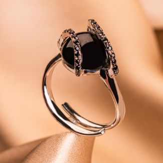 Inel reglabil argint Black Cz stone