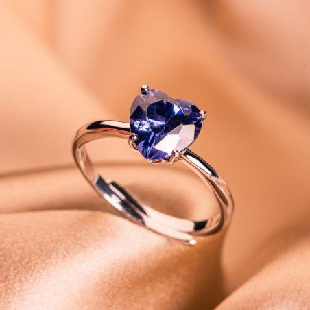 Inel reglabil argint Tanzanite Heart