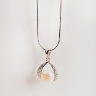 Set argint cercei si pandant White Pearls Drops