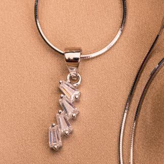 Set argint cercei si pandant Crystal Lights