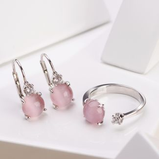 Gift Sterling 925 Silver Earrings and Ring Light Pink Eye Cat