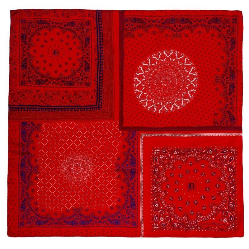 Eşarfă pătrată L. Biagiotti geometric roşu