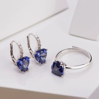 Gift Sterling 925 Silver Earrings and Ring Tanzanite Heart