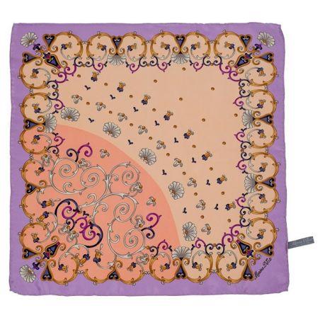 Eşarfă mătase naturală dantelă lila şi roz