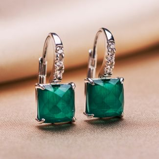 Gift Sterling 925 Silver Earrings and Ring Scarlet Emerald Cat Eye