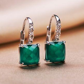 Set Cercei si Inel reglabil argint Scarlet Emerald Cat Eye