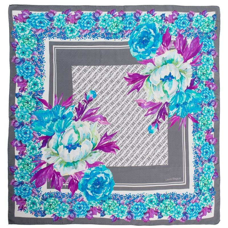 Eşarfă pătrată L. Biagiotti flori în colţ blu cu gri
