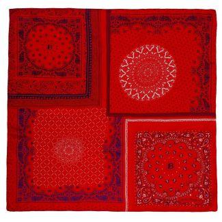 Cadou: Eşarfă pătrată roşu geometric şi fundiţă