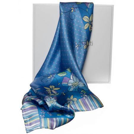 Cadou: Eşarfă mătase naturală bulinuţe blu şi fundiţă