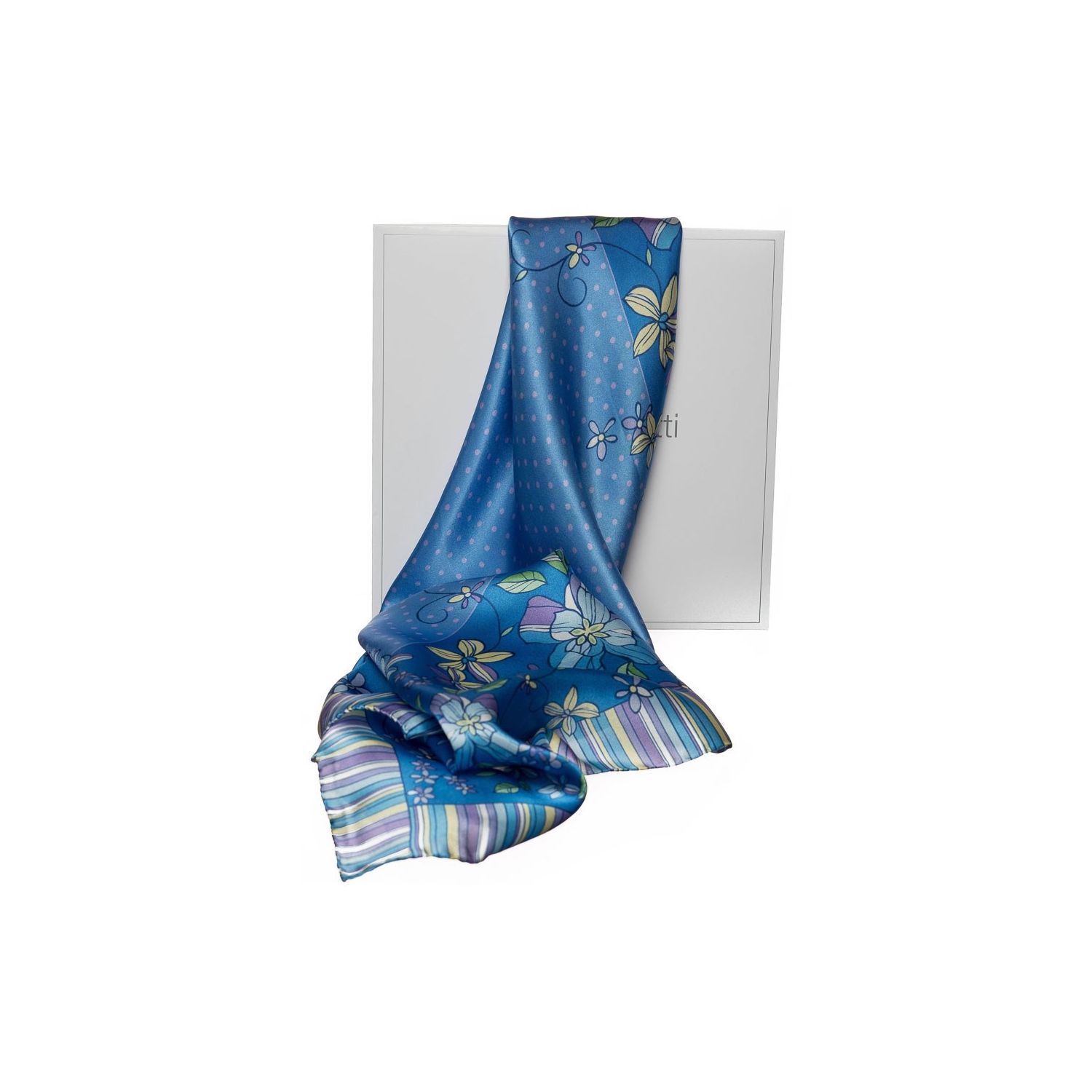 Gift: Marina D'Este Blue Doted Squared Scarf