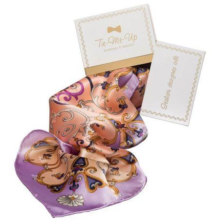 Cadou: Eşarfă mătase naturală dantelă lila şi roz cu fundiţă