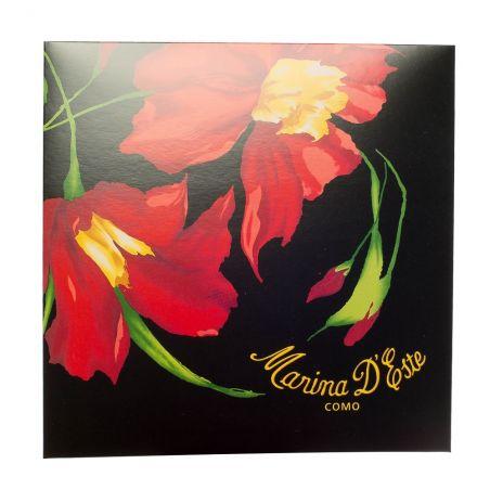 Cadou: Eşarfă pătrată Marina d'Este dantelă lila şi roz cu fundiţă