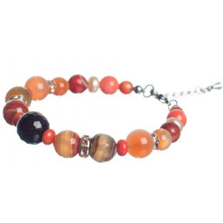 Orange Agate and Pink Quartz Luxury Bracelet