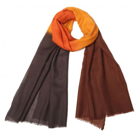 Esarfa casmir Mila Schon Mood Brown Orange