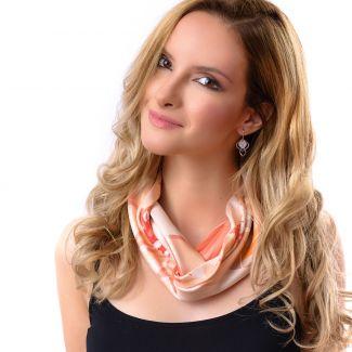Silk scarf Coral Flower Kiss