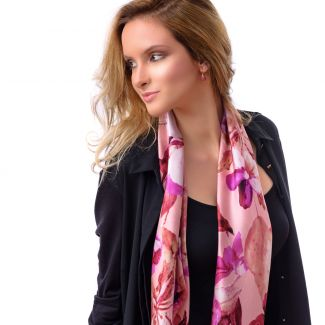 Silk scarf Flower Sensation Pink