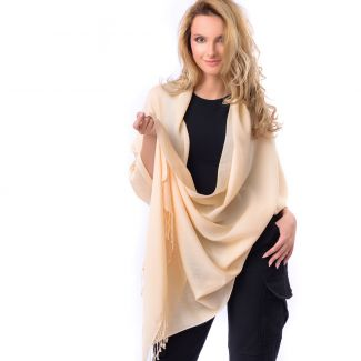 Cashmere and silk scarf Champagne