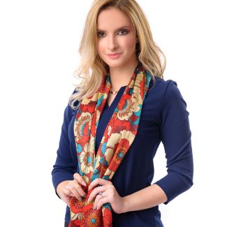 Silk shawl Sunset Garden red