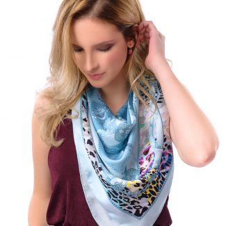 Silk scarf Fusion Polo Ice Blue