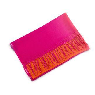 Esarfa lana si casmir Mila Schon 2 tones pink orange