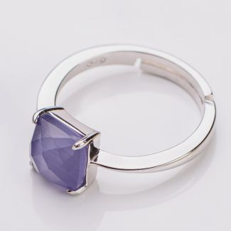 Sterling Silver Ring ajustable Amethyst Cat Eye