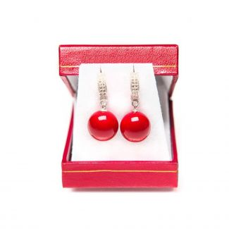 Silver earrings red coral