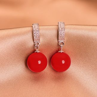 Sterling Silver Earrings round red shell