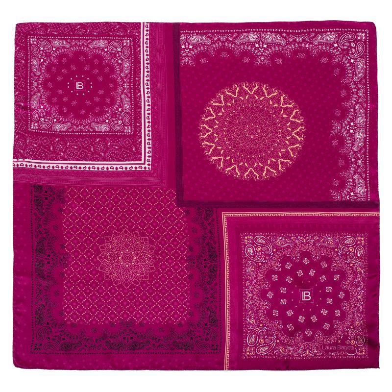 Purple Geometric L. Biagiotti Squared Scarf