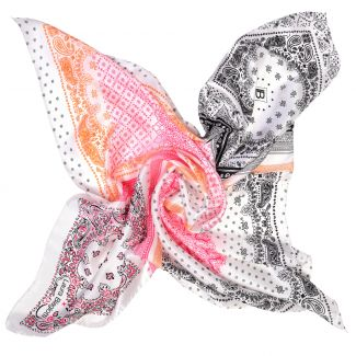 White Etno Pattern silk scarf