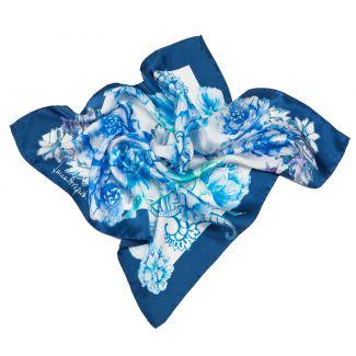 Silk Scarf Laura Biagiotti spring flowers blu