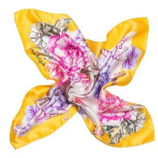 Esarfa matase naturala Laura Biagiotti spring  flowers yellow