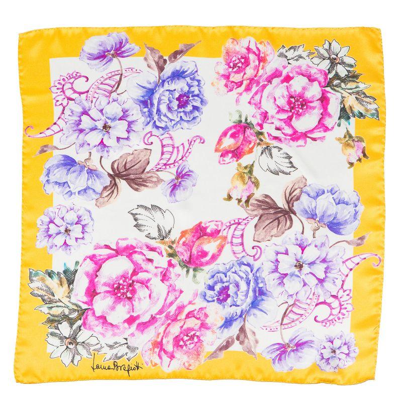 Silk Scarf Laura Biagiotti spring flowers yellow